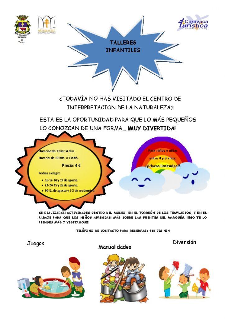 CARTEL TALLERES INFANTILES EN C.I.N.- MES DE AGOSTO. VERANO2016