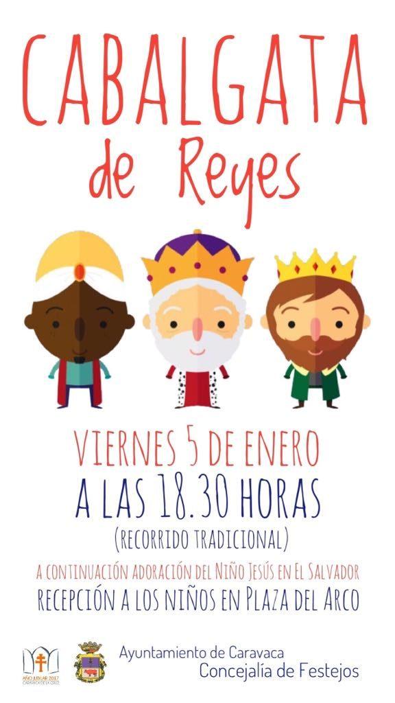 Cartel de la Cabalgata de los Reyes Magos de Caravaca en 2018.
