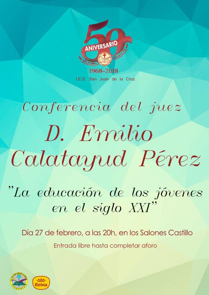 Cartel de la conferencia del juez Emilio Calatayud Pérez en los Salones Castillo de Caravaca.