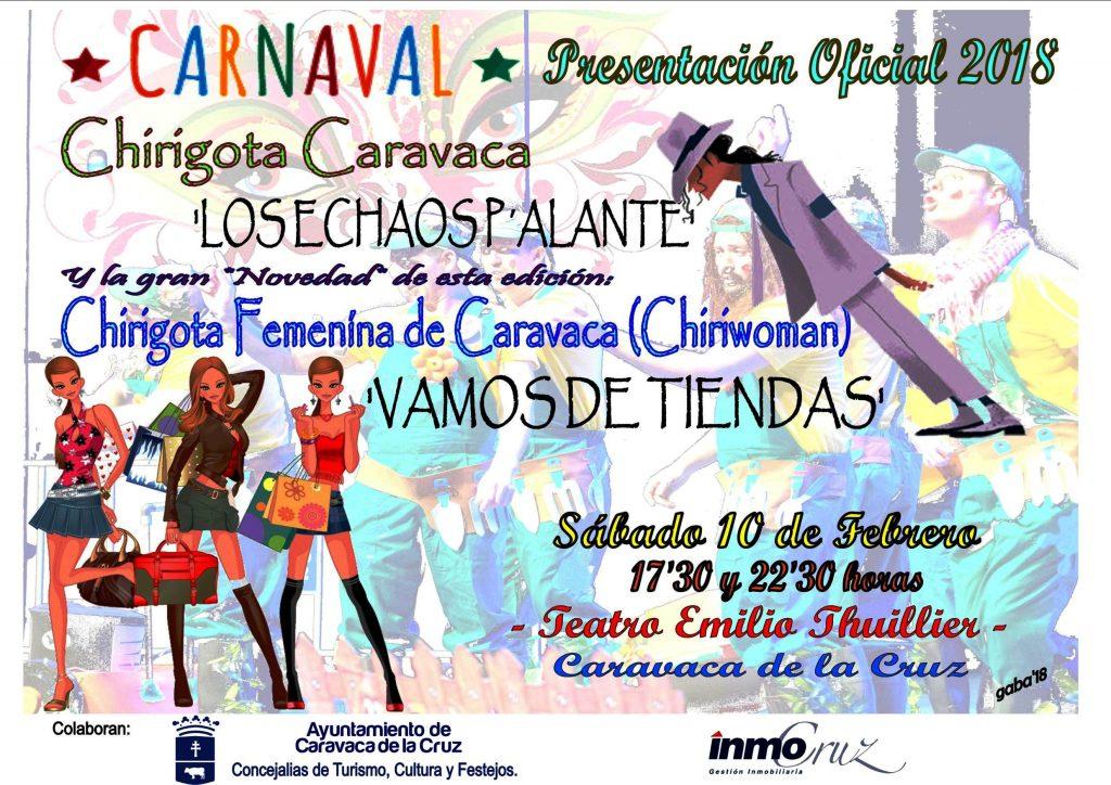 Cartel de la presentación oficial del Carnaval de Caravaca 2018 con la actuación de las chirigotas.