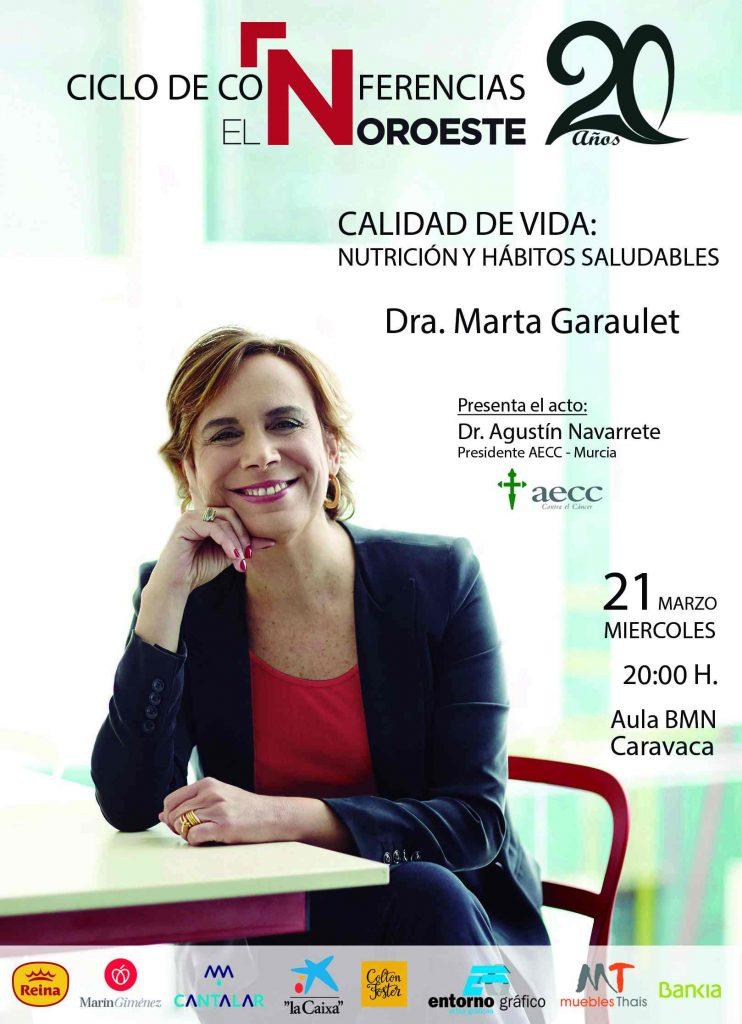 Cartel de la charla de Marta Garaulet con motivo del 20 aniversario del periódico 'El Noroeste'.