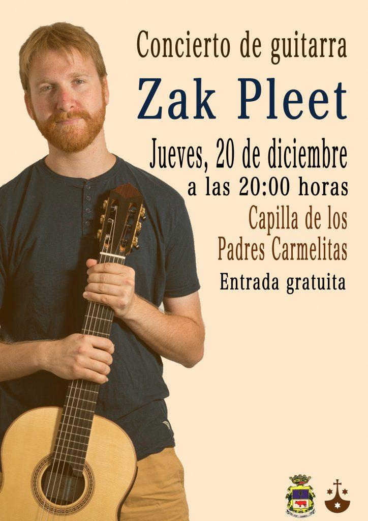 El guitarrista Zak Pleet ofrece hoy jueves un recital en la iglesia de los Padres Carmelitas