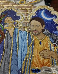 Pablo Iglesias en el bordado de la Peña Minipúa/ Peña Minipúa.